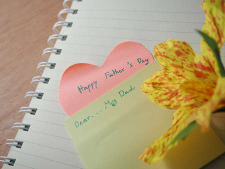 father s day: Short note, happy father s day, my daddy, created on notebook with created flower