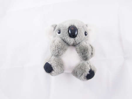 gray hair: Koala, gray soft bear doll lie down on the bed, toy and souvenir