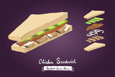 chicken sandwich with cucumber, eggplant and onion illustration isolated on gradient background