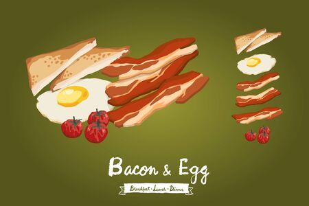 Bacon, fried egg, toasted bread and tomatoes illustration isolated on gradient background