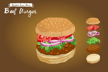 Beef burger with sliced tomatoes, shallots and lettuce illustration isolated on gradient background Archivio Fotografico - 132920461
