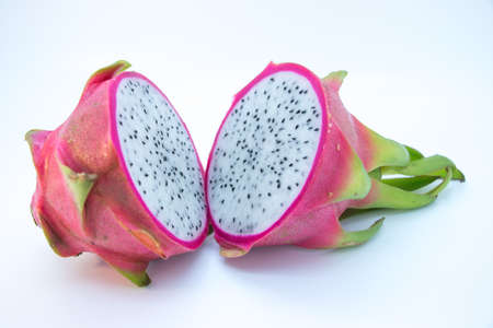 dragonfruit: Whole dragonfruit cut in half whole fruit