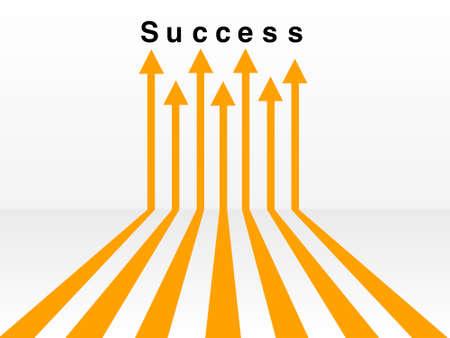Orange arrow leading to the word success on a white background Stock Photo