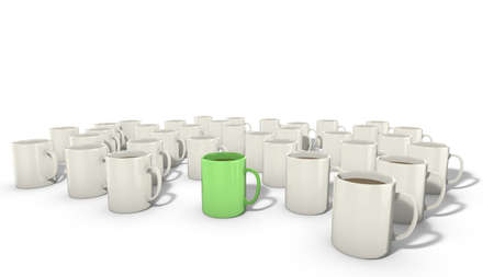 Concept for diversity, not my cup of tea, one of a kind, one green mug among a lot of white mugs.