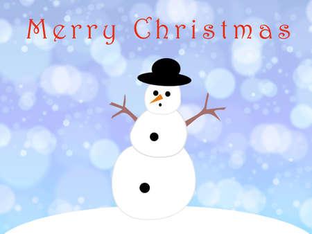 Snowman on a blue christmas card 版權商用圖片