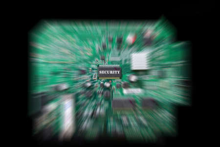 Circuit board with security chip in radial blur Stock Photo