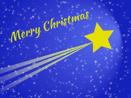 Shooting star at night christmas card with blue sky 版權商用圖片