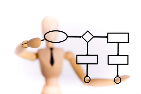 marioneta de madera: Concepto diagrama dibujo Marioneta de madera en el fondo blanco