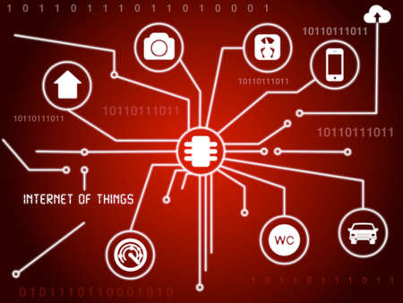 wireless internet: The internet of things concept illustration as a red circuit board Stock Photo