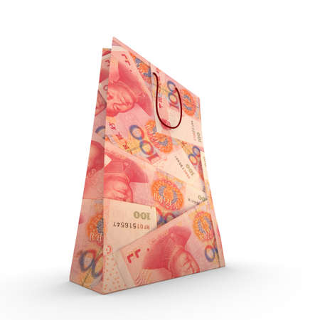 yuan: Paper shopping bag with chinese yuan texture