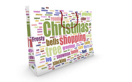 Bag with christmas shopping word-cloud texture on white background Stock Photo