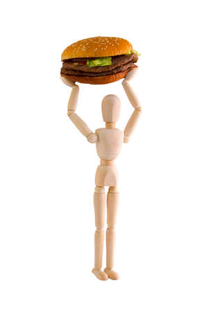 Puppet lifts big burger for exercise on white background