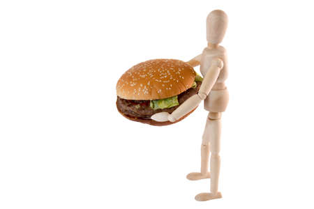 Puppet is bringing a big burger on white background
