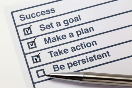 Steps to success list with tick marks