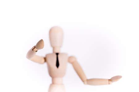 marioneta de madera: Hombre de negocios de títeres de madera regalos (mano fuerte, títeres borrosa)