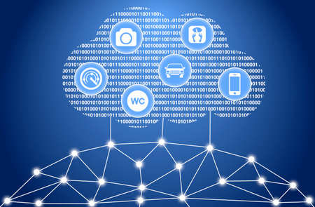Het internet van de dingen wolk concept illustratie Stockfoto