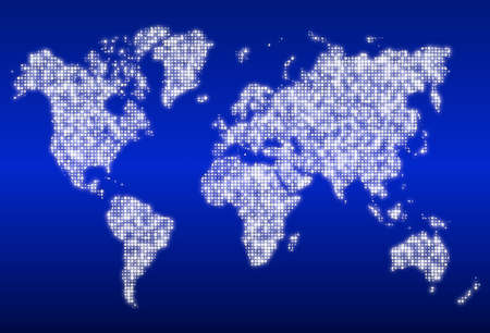 centers: World map with glowing white data centers on blue Stock Photo