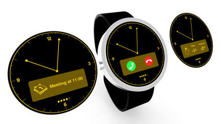 appointments: Smartwatch with three different watchfaces Stock Photo