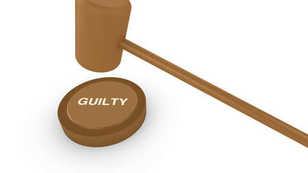 guilt: Court hammer smashing on guilty sign concept for conviction