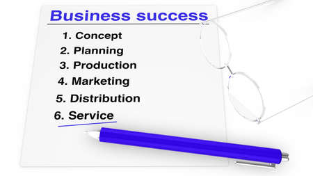 enumerated: List of steps for business success with specs and pen