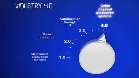 revolutions: Industry 4.0 concept illustration infographic circular scale with industrial revolutions Stock Photo