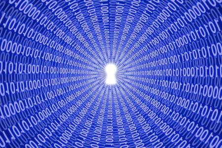data stream: White digital keyhole in data stream