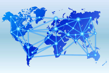 data centers: World map with connected data centers in blue Stock Photo