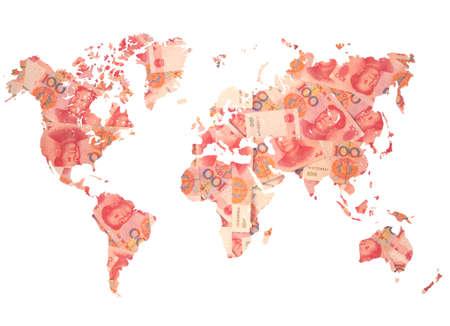 mapa de china: Mapa del mundo hecha de cuentas de yuan chino en blanco