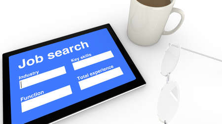 career entry: Job search entry screen on tablet Stock Photo