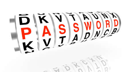 security breach: Slot machine wheels with the word password in red concept render