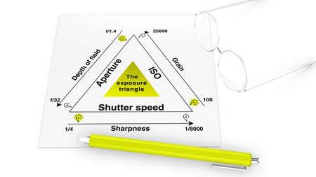 Blootstelling legde infographic illustratie met specs en pen Stockfoto