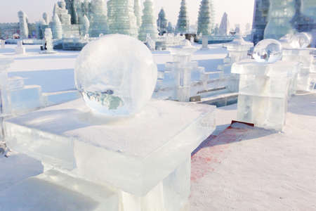 Ice balls in front of ice buildings in Harbin China