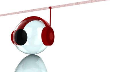 data stream: Data spy concept headphone listening to data stream