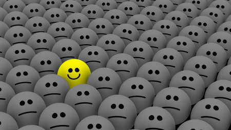 One yellow among many grey smileys as concept for individuality