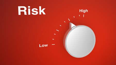 低から高までのスケールと赤のリスク コントロール ・ ノブ 写真素材