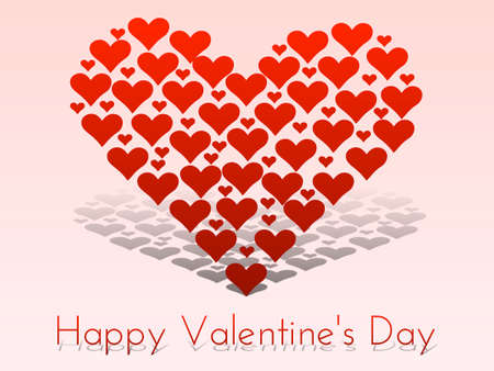 express feelings: Happy valentines day card with hearts shaping a heart