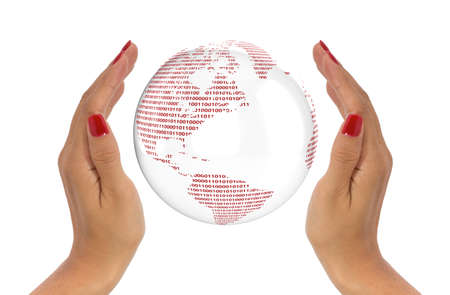 enclosing: Protect data concept with two hands enclosing a digital globe Stock Photo