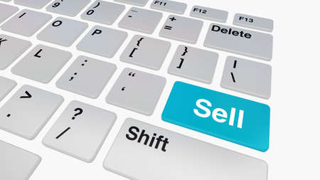 online auction: Keyboard with blue sell button, online shopping and auction concept