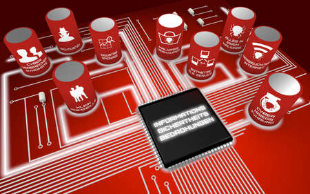threats: Nine most severe future Information security threats circuit board concept render in german