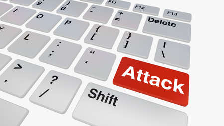 cyber war: Keyboard with red attack button concept for information security