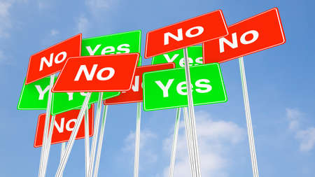 indecisive: Multiple green yes and red no signs with cloudy blue sky