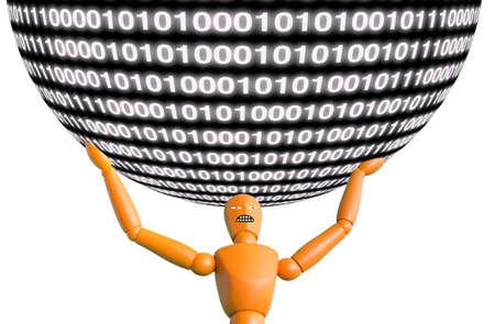 carries: Big data concept puppet carries a huge data ball