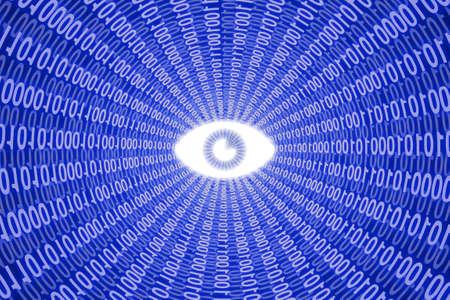 big brother: White digital eye in blue data stream