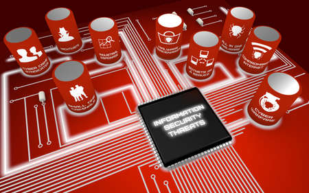 threats: Nine most severe future Information security threats circuit board concept render