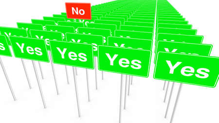 Many yes and one no signs on white