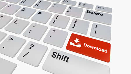 file sharing: Keyboard with red download button concept for file sharing