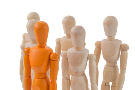 singular: Stand out from the crowd concept with one single orange person  among a lot of others
