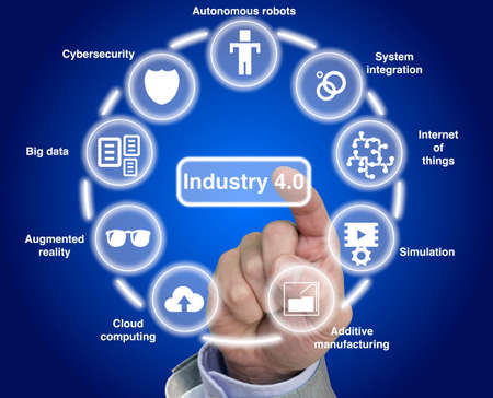 40: Industry 4.0 concept illustration infographic circular explanation of main components Stock Photo