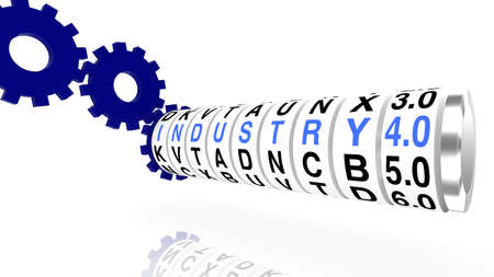 slot in: Slot machine wheels with the word industry 4.0 in blue render on white