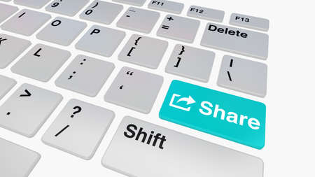 file sharing: Keyboard with blue share key concept for file sharing and social media Stock Photo
